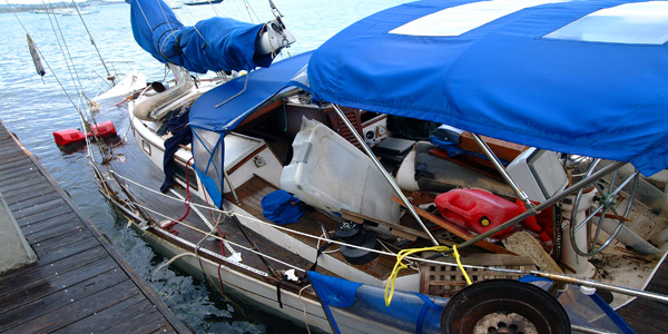 The aftermath of Hurricane Omar left many boat owners homeless.